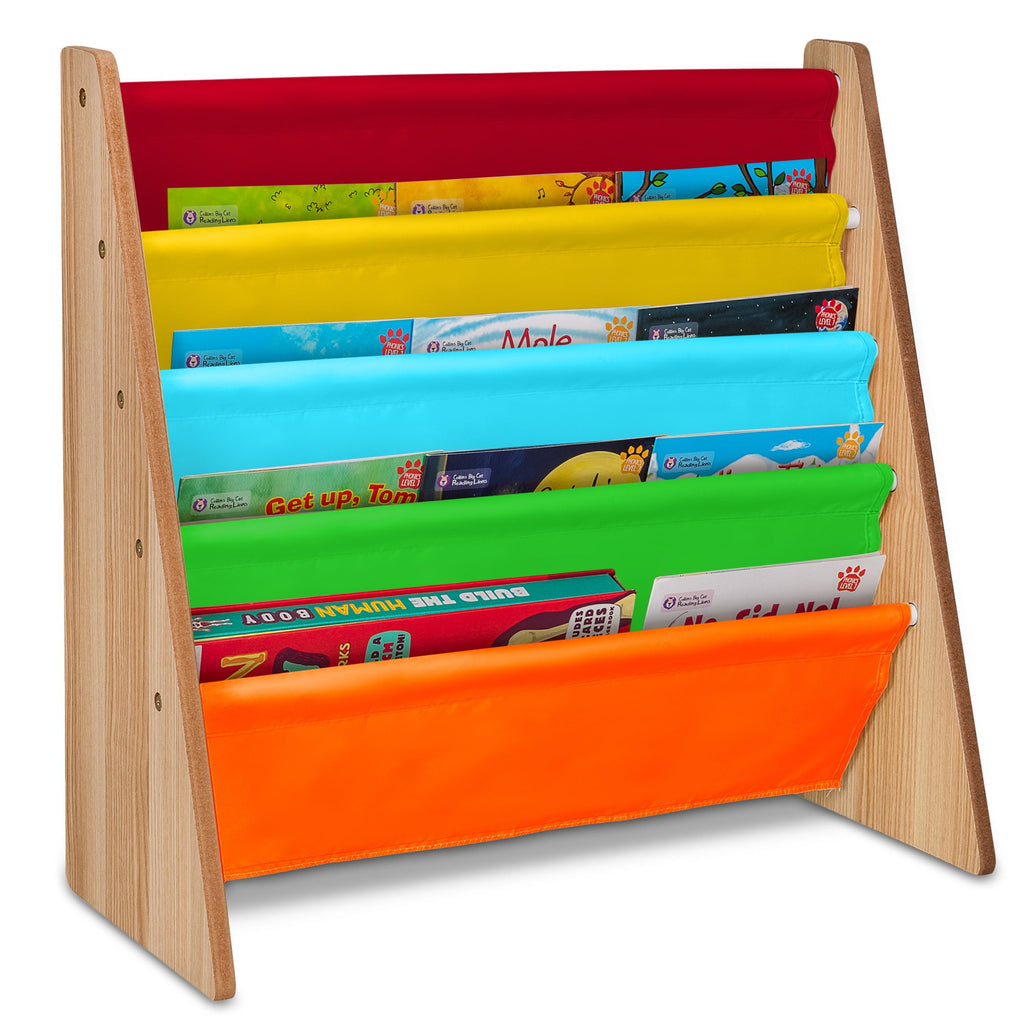 Children's Storage Bookshelf With 5 Slings Rainbow