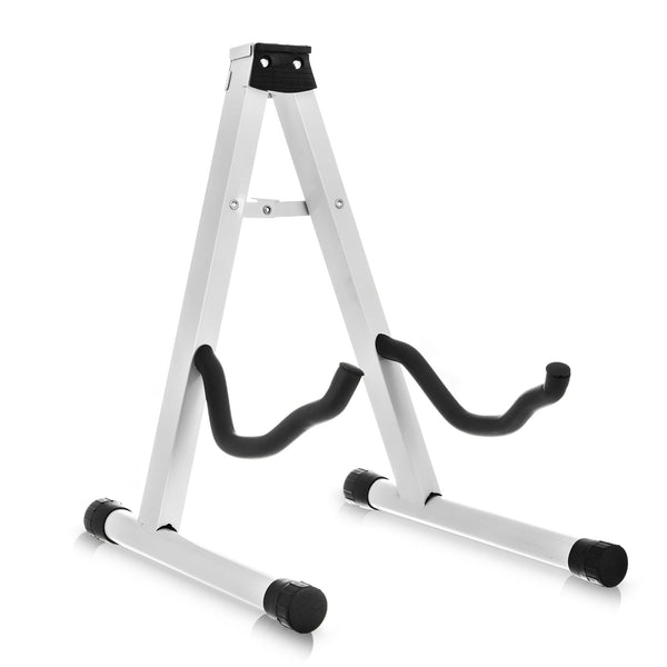 Folding A-Frame Guitar Stand With 2 Cradle Hooks - White