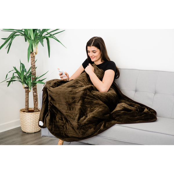 Heated Electric Over Blanket Throw - Chocolate Brown