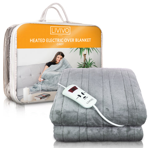 Heated Electric Over Blanket Throw - Grey