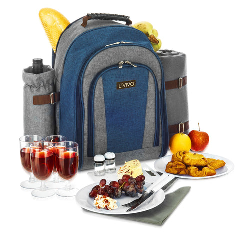 4 Person Picnic Backpack With Blanket