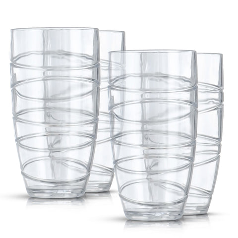 Set of 4 Clear Swirl Design Tumblers