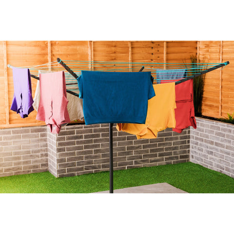 4 Arm Rotary Clothes Airer With Cover - Black