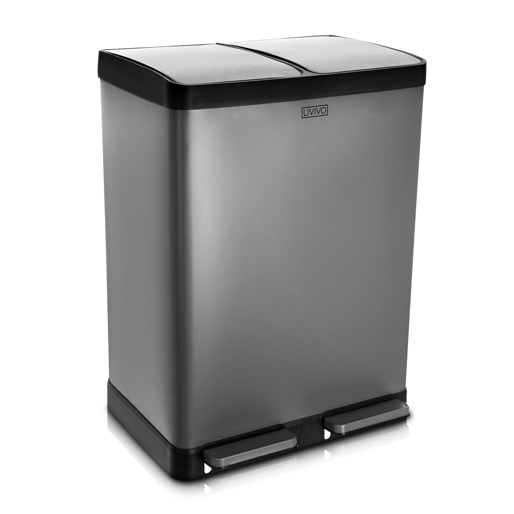 60L Stainless Steel 2 Compartment Recycling Bin Grey Matt