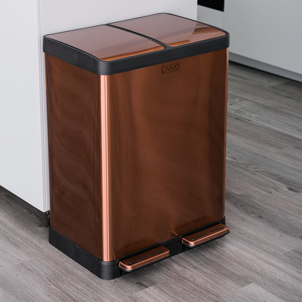 60L Stainless Steel 2 Compartment Recycling Bin Rose Gold