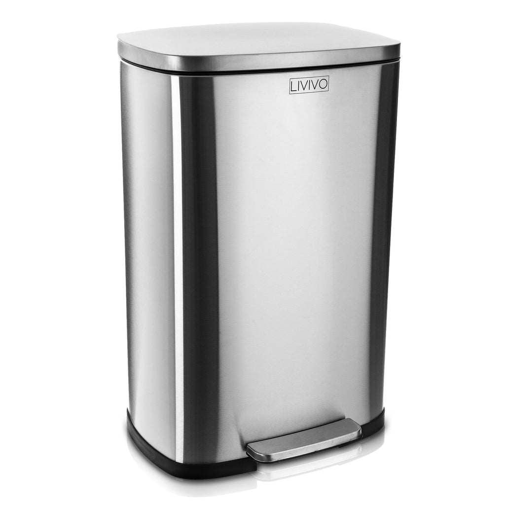 50L Stainless Steel Recycling Bin Satin Silver - LIVIVO