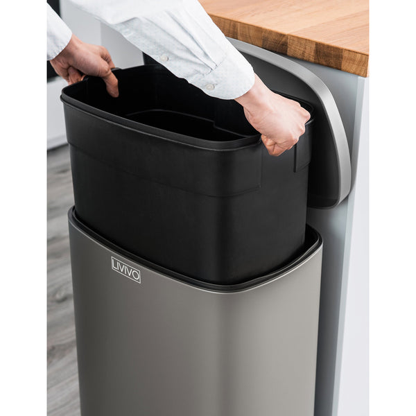 50L Stainless Steel Recycling Bin Matt Grey