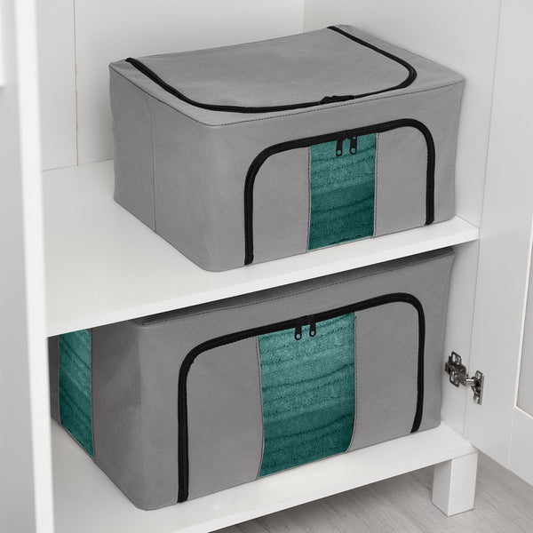 Set of 3 Zipping Foldable Fabric Storage Boxes