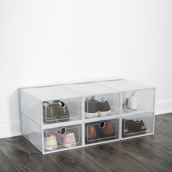 Set of 6 Stackable Shoe Storage Boxes - White