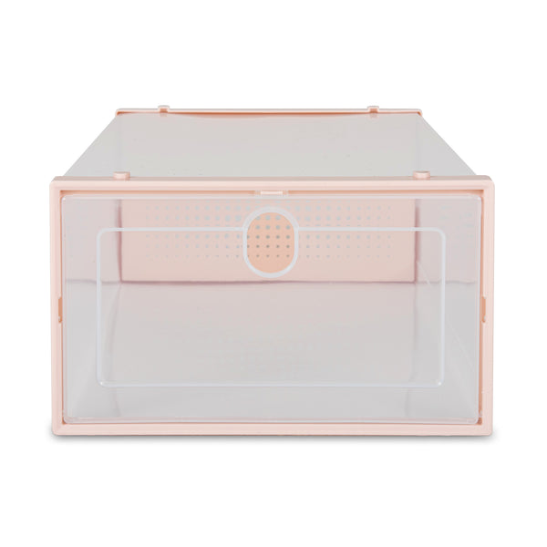 Set of 6 Stackable Shoe Storage Boxes - Pink