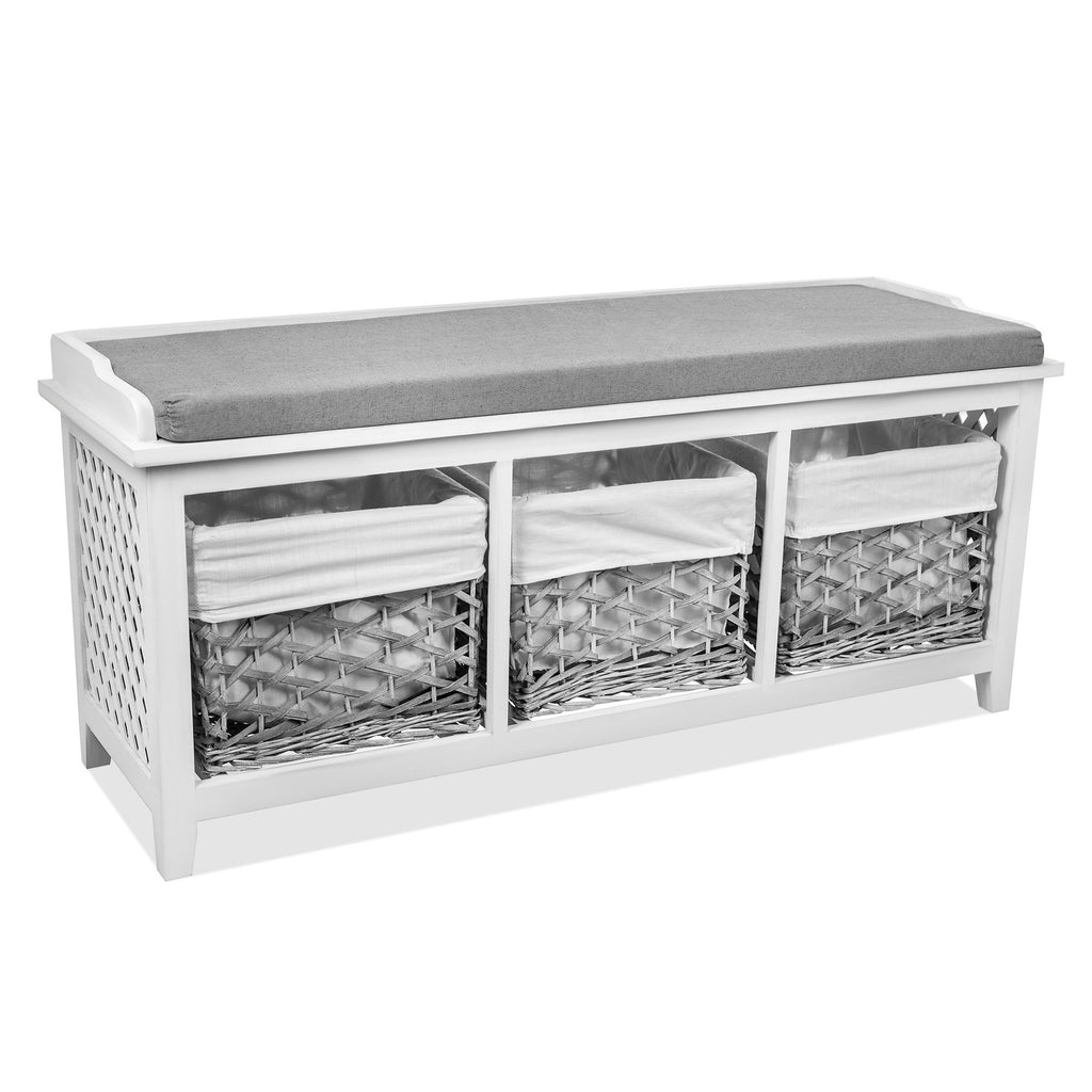 'Ares' Storage Bench With 3 Baskets - LIVIVO