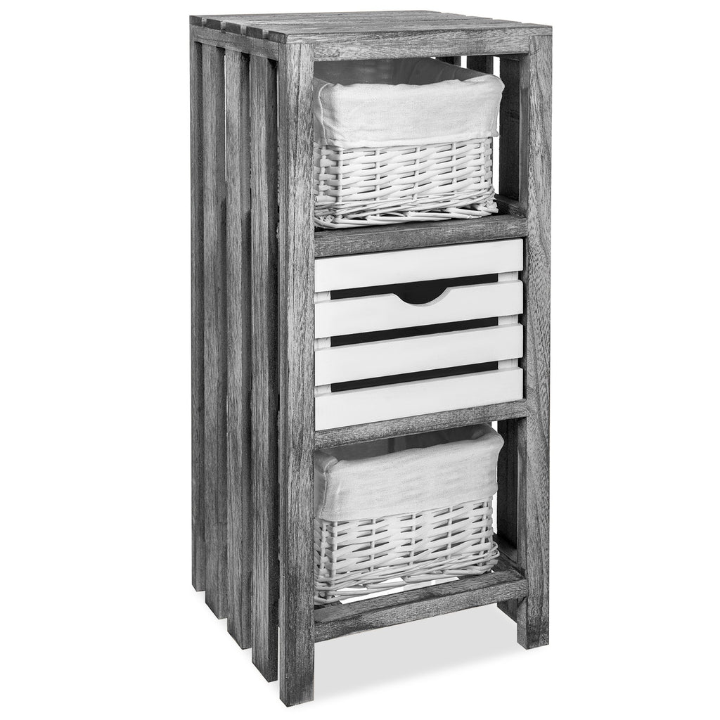 'Athena' Bedside Table With Drawer & Double Basket