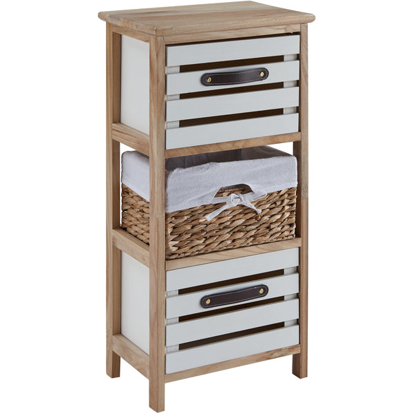'Vulcan' Natural Slated Double Drawer With Basket