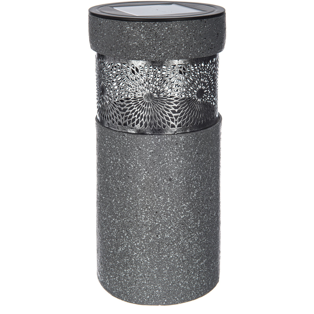 Solar Light With Stone Effect Metal Pattern- Grey