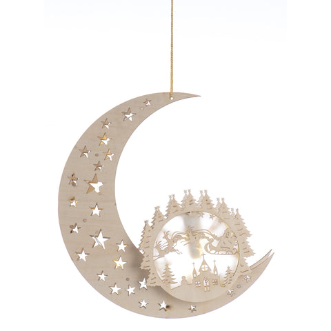 Christmas 10 LED wooden moon silhouette light