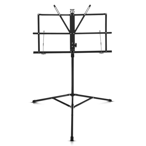Folding Black Music Sheet Metal Stand With Carry Case Bag