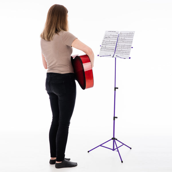 Folding Purple Music Sheet Metal Stand With Carry Case Bag