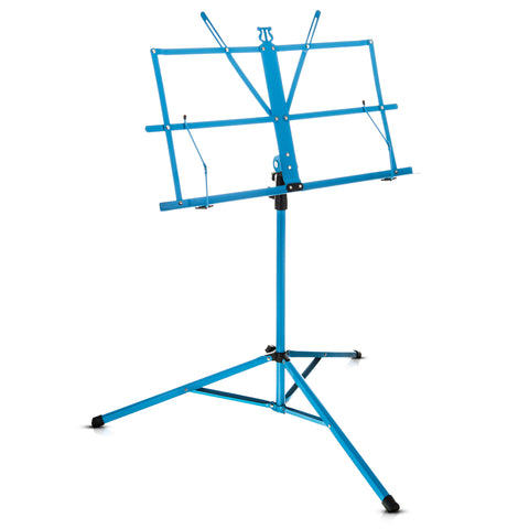 Folding Blue Music Sheet Metal Stand With Carry Case Bag