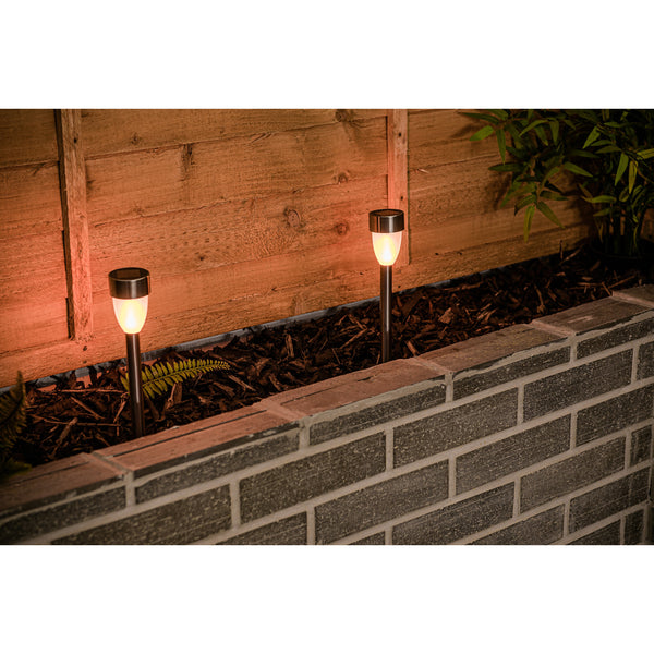 Stainless Steel Dancing Flame Solar Post Light (4PC)