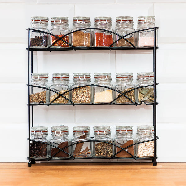 3 Tier Black Freestanding Spice Rack