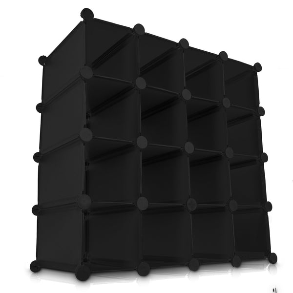 16 Black Interlocking Storage Cube Organiser