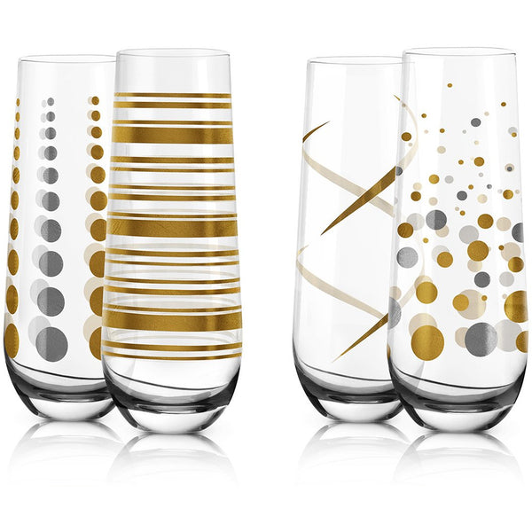 Set of 4 Stemless Flute Glasses