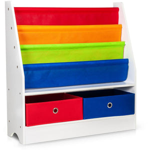 CHILDRENS BOOKS & TOYS STORAGE RACK 4 SLINGS & 2 BOXES