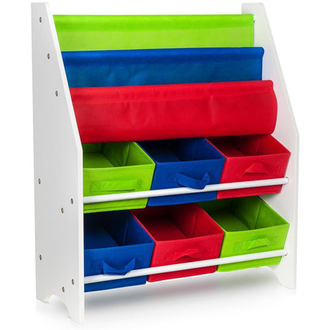 Children Storage Rack for Books & Toys - 3 Slings & 6 Boxes Primaries