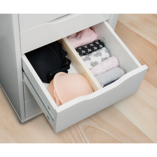 Set of 2 White Spring Loaded Expandable Drawer Dividers