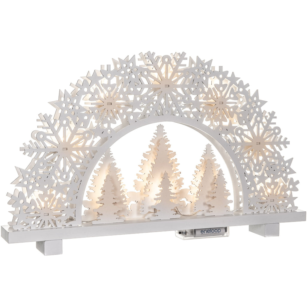 11 LED Natural Wooden Tree Candle Bridge