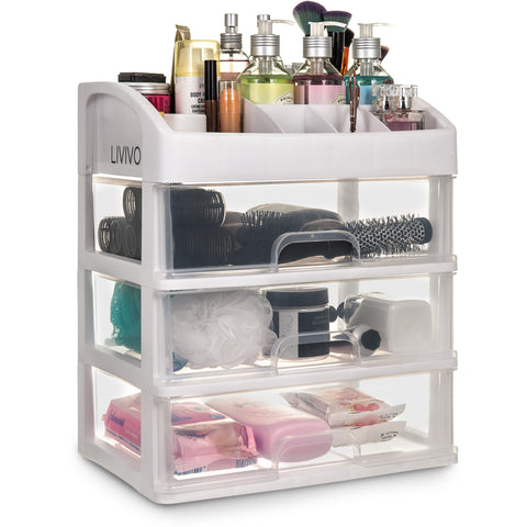 3 Drawer Cosmetic Organiser With Top Tray