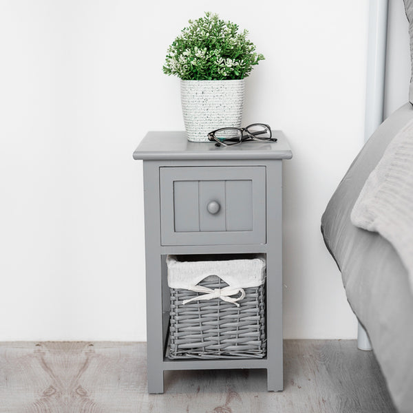 Grey Shabby Chic Bedside Cabinet
