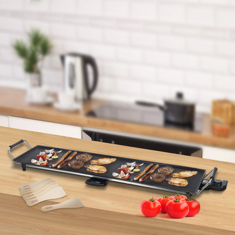 Extra Large Electric Solid Teppanyaki Grill With Wooden Spatulas & Egg Rings