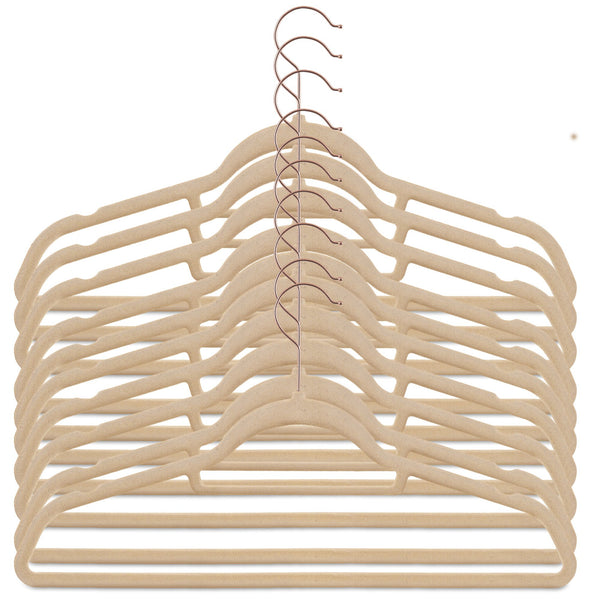 50 Pack Velvet Hangers - White Rose Gold