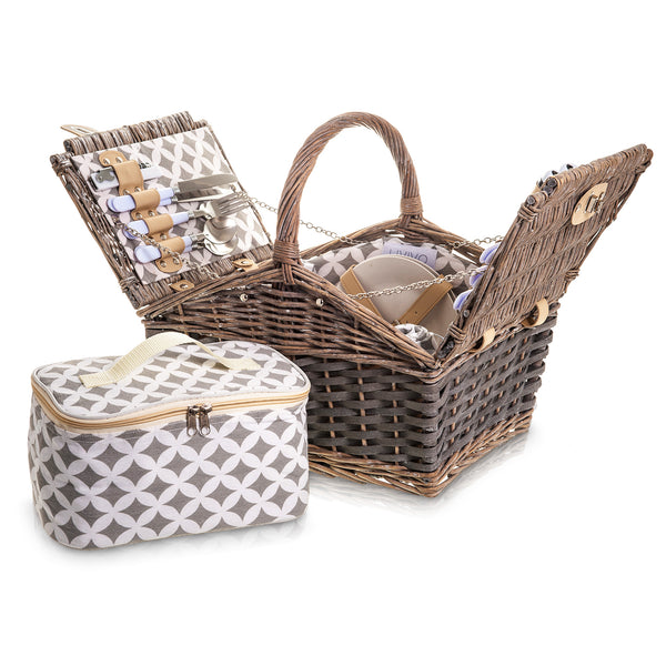 4 Person Traditional Picnic Wicker Hamper Basket With Cooler Bag