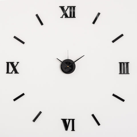 Large 3D DIY Wall Clock With Roman Numerals
