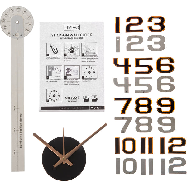 Large 3D DIY Wall Clock With Metallic Numerals