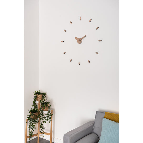 Large Rose Gold Minimalist Stick-on Wall Clock