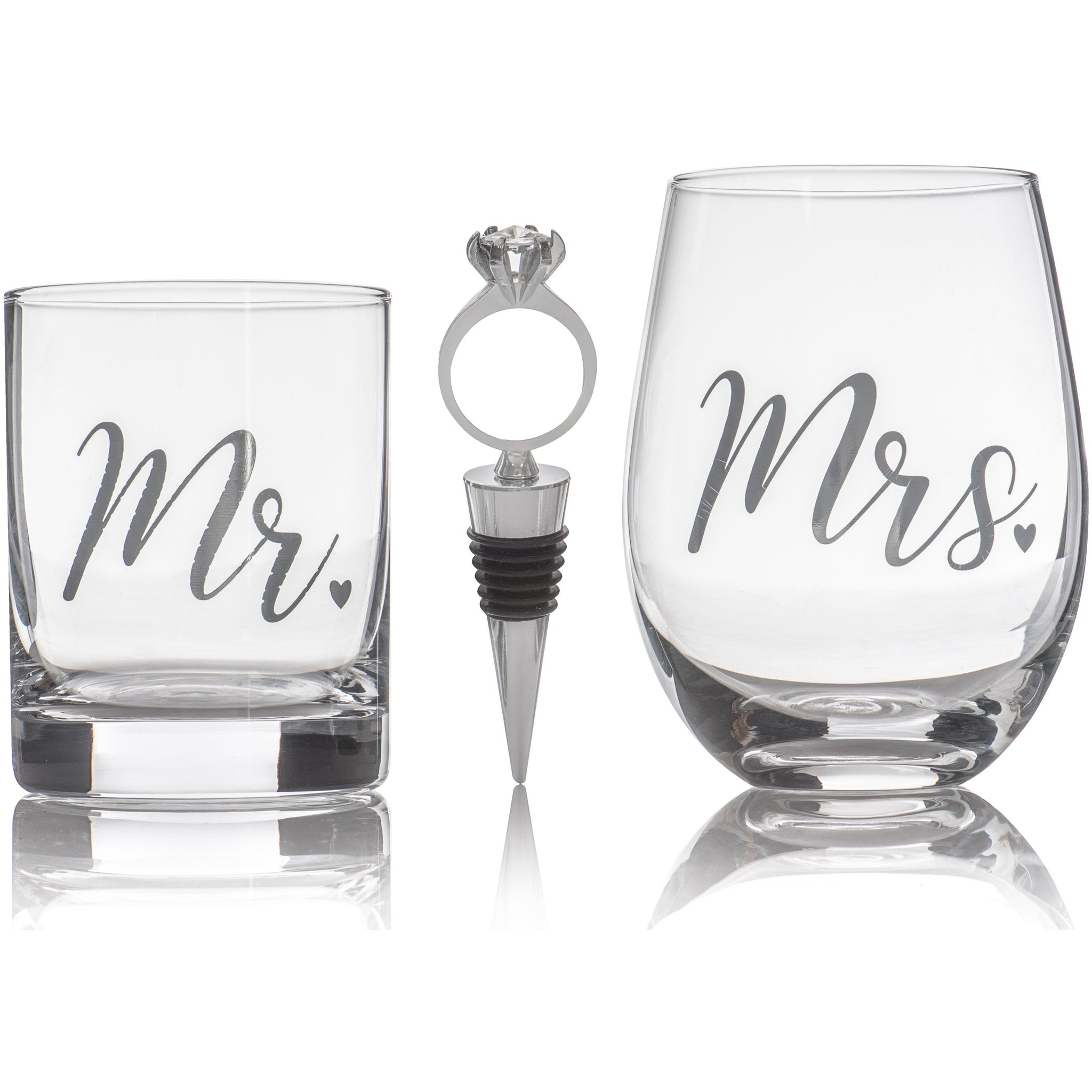 Set of 2 His and Hers Whiskey & Wine Glasses