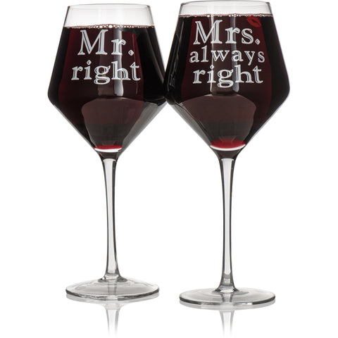 Set of 2 Mr. & Mrs. Wine Glass