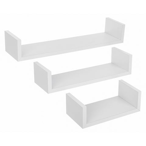 Set of 3 Floating Wall Shelves 'U-Shape' - White