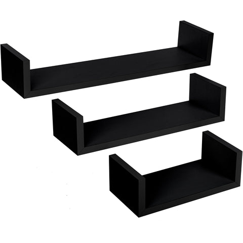 Set of 3 Floating Wall Shelves 'U-Shape' - Black