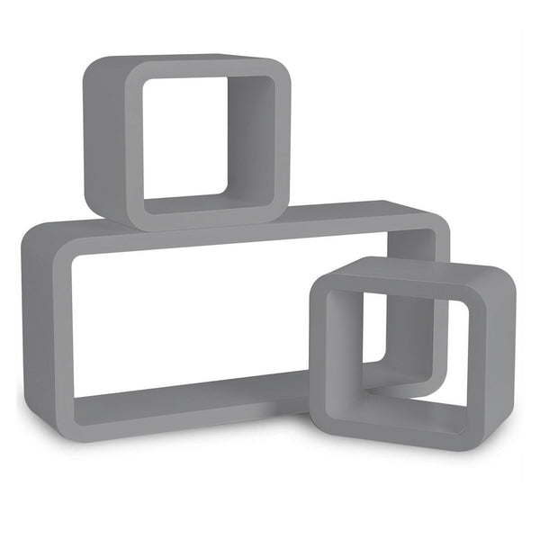 Set of 3  Rectangle Cube Wall Shelves - Grey