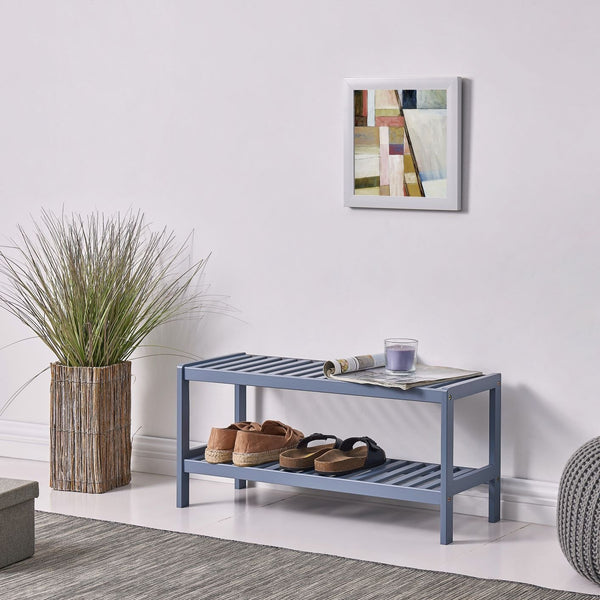 2 Tier Bamboo Shoe Rack - All Grey