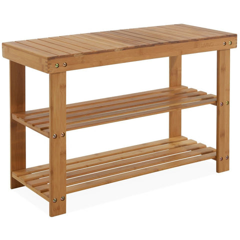 2 Tier Wooden Bamboo Shoe Rack-Bench