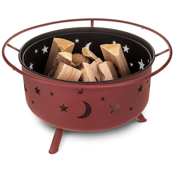 Bronze Fire Pit and BBQ Grill With Stars and Moons Design