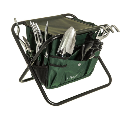 9PC GARDEN STOOL AND TOOL SET