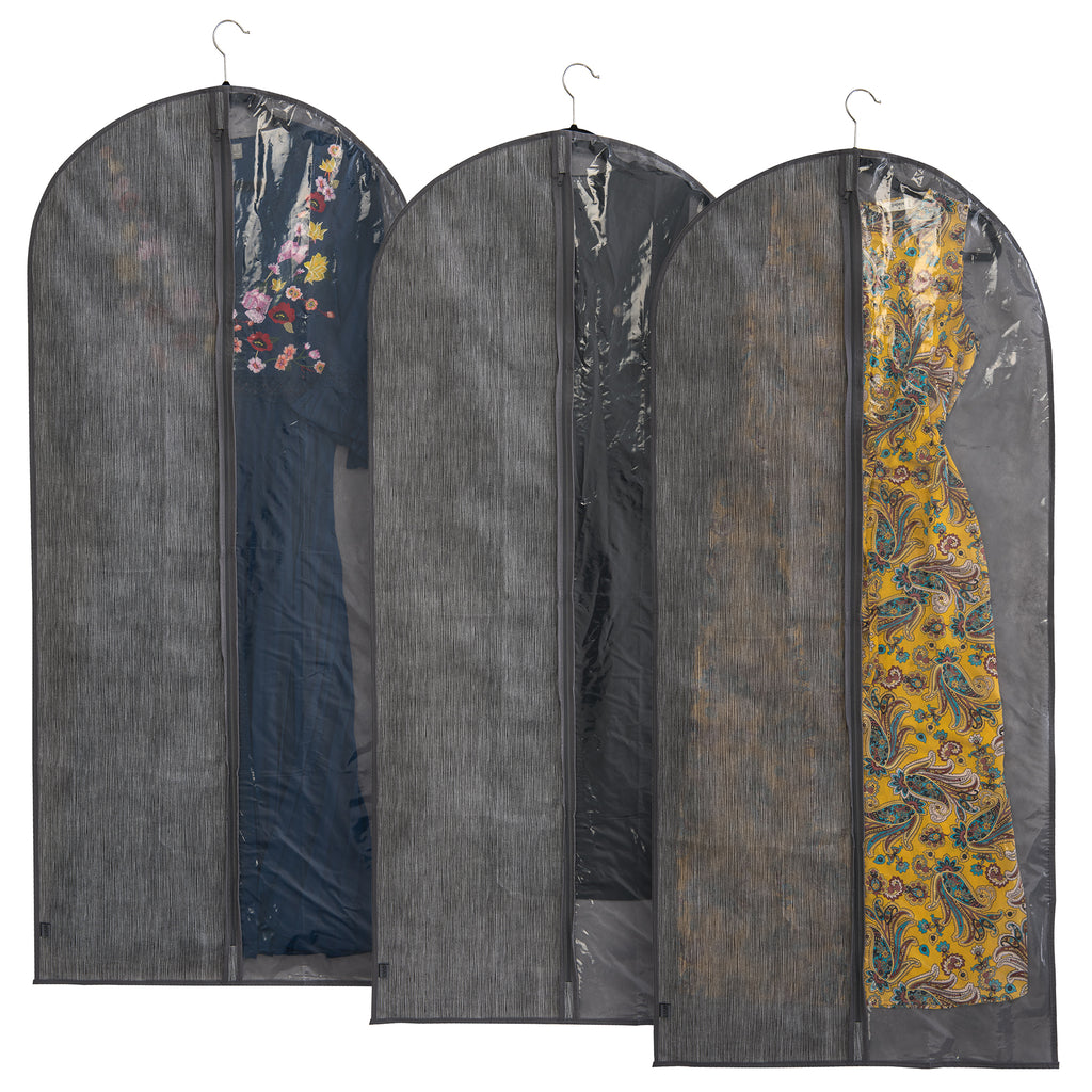 Set of 3 Grey Linen Printed Garment Cover with Viewing Panel
