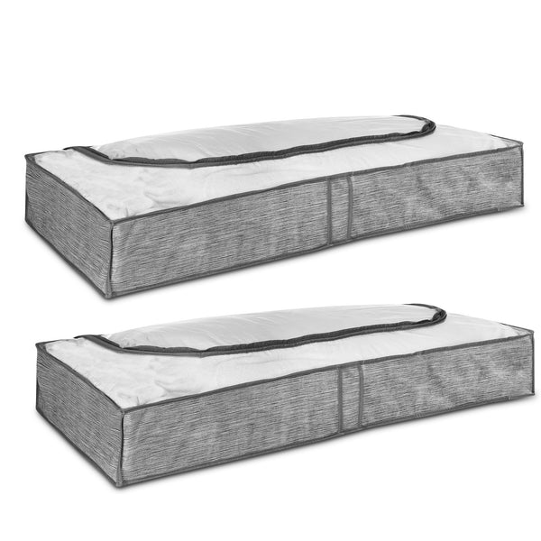 Set of 2 Grey Linen Printed Underbed Storage Bag with Viewing Panel