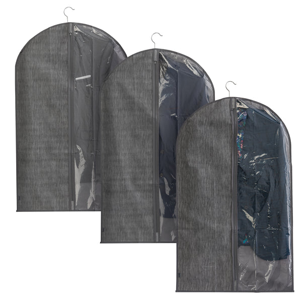 Set of 3 Grey Linen Printed Suit Cover with Viewing Panel